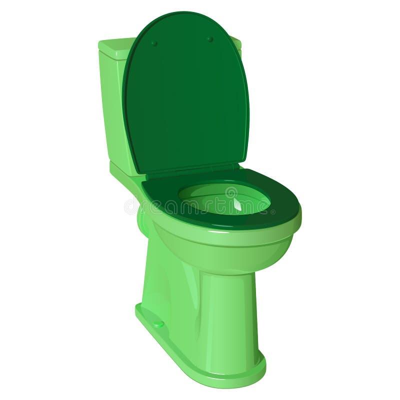 Ciotola di toilette ceramica verde con il coperchio di plastica alzato ed il sedile abbassato royalty illustrazione gratis