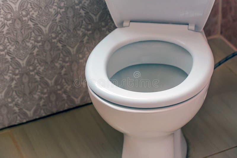 Ciotola di toilette con sciacquone immagini stock