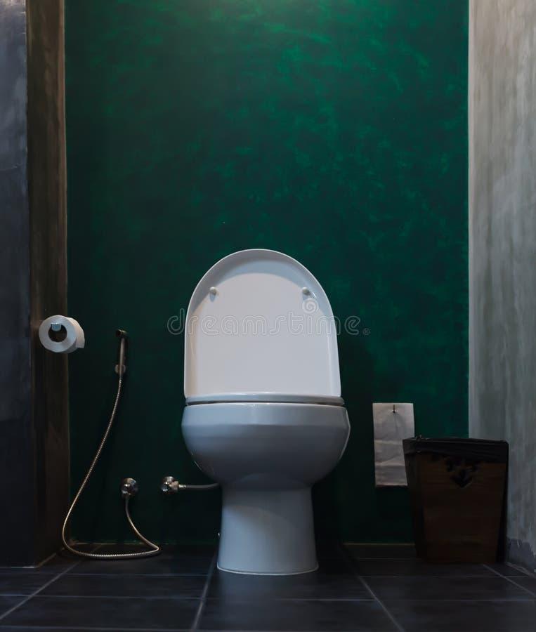 Ciotola di toilette con sciacquone ceramica bianca in bagno con la borsa della carta igienica, il rubinetto di salute della docci fotografia stock