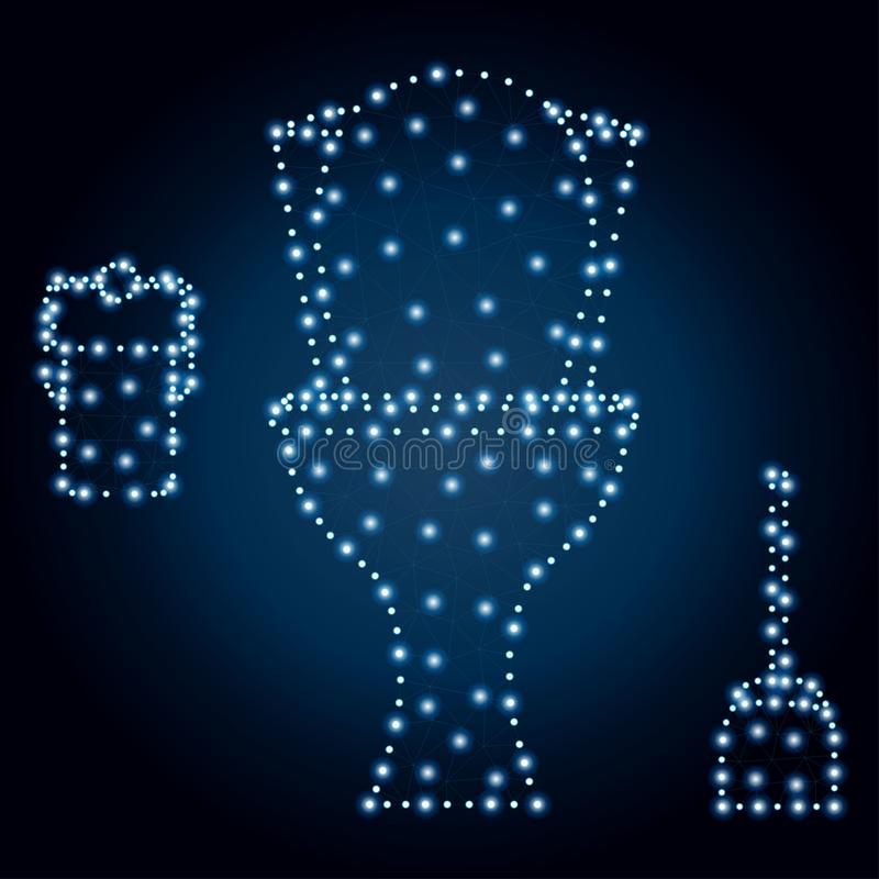 Ciotola di toilette, poligono, stelle blu 3 illustrazione di stock