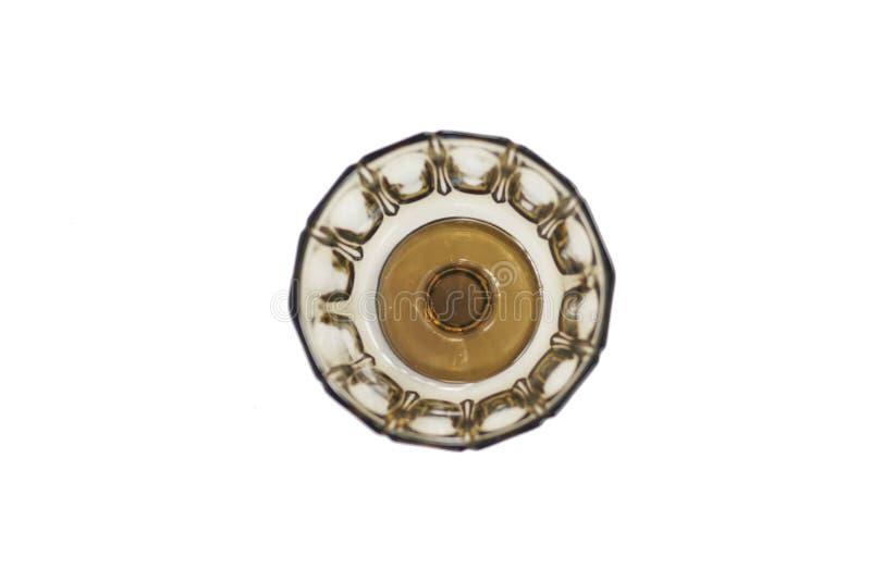 Ciotola di vetro tradizionale brunastra con il supporto Sparato da sopra fotografie stock