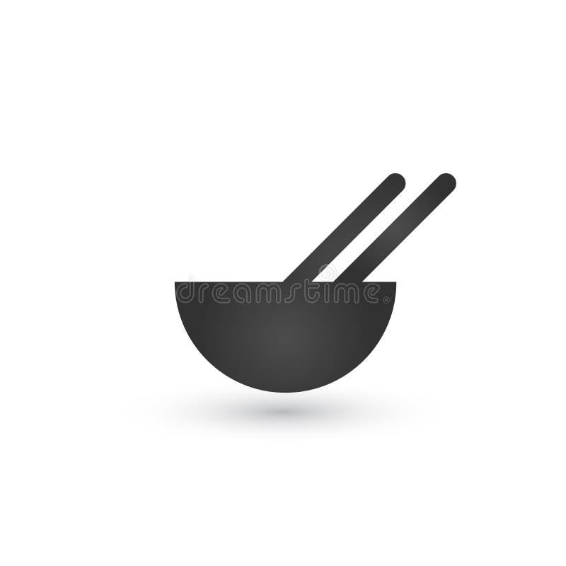 Ciotola e bastoncino, ramen della minestra, alimento asiatico, pasta della Francia Icona della cucina Illustrazione di vettore is royalty illustrazione gratis
