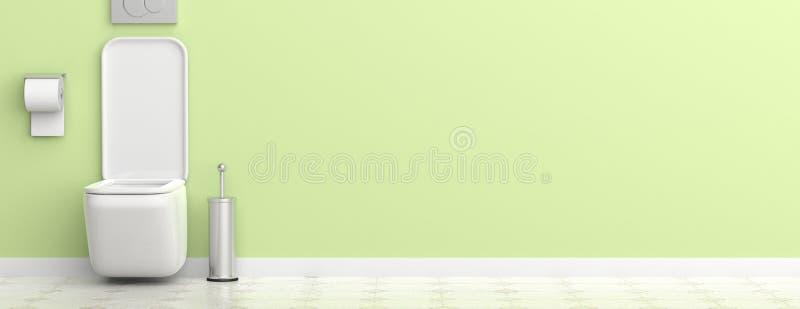 Ciotola ed accessori di toilette bianchi sul fondo del pavimento non tappezzato e della parete dipinta, insegna illustrazione 3D illustrazione vettoriale
