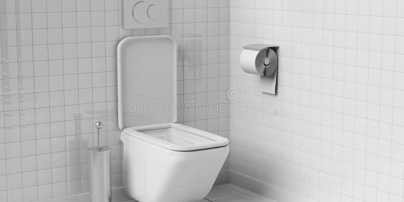 Ciotola ed accessori di toilette bianchi sul fondo piastrellato del pavimento e della parete illustrazione 3D illustrazione vettoriale