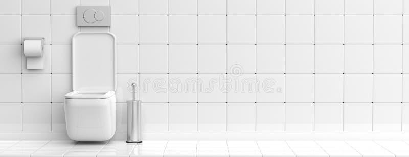 Ciotola ed accessori di toilette bianchi sul fondo piastrellato del pavimento e della parete, insegna illustrazione 3D illustrazione vettoriale