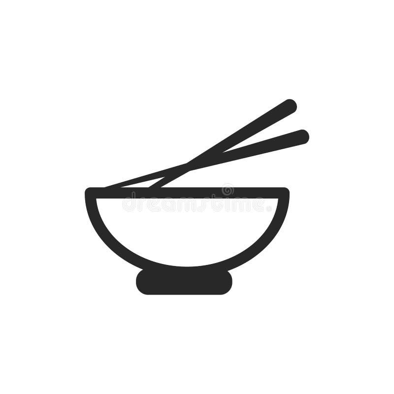 Ciotola giapponese monocromatica con l'icona del bastoncino su fondo bianco royalty illustrazione gratis