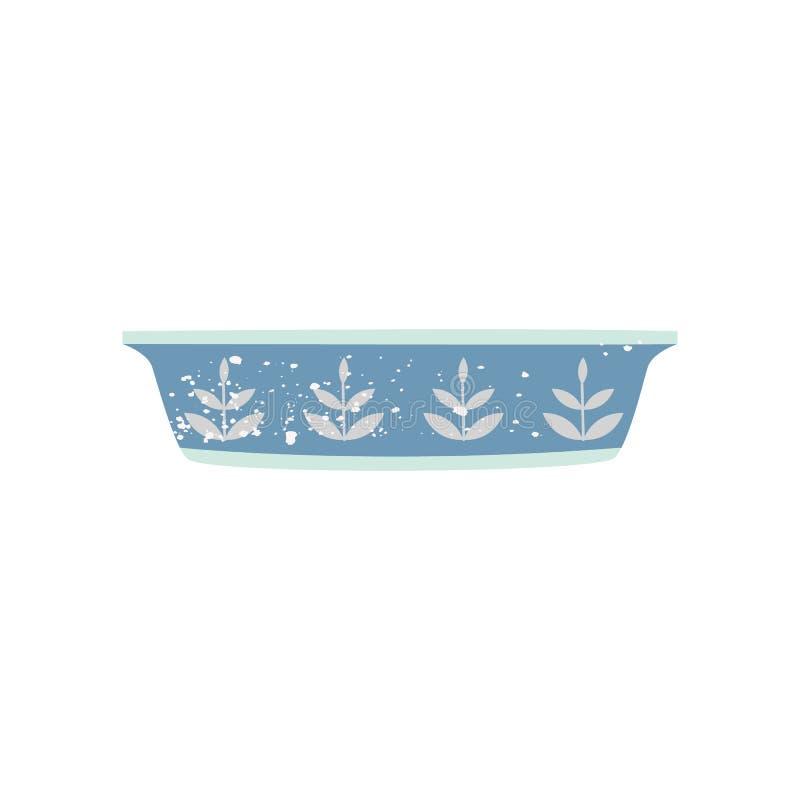 Ciotola servente ceramica o piatto bollente stile piano del fumetto illustrazione vettoriale