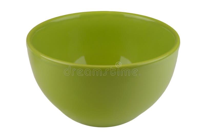 Ciotola vuota verde isolata su bianco fotografia stock libera da diritti