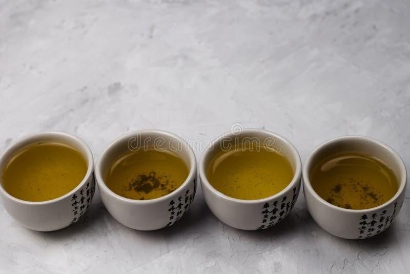 Ciotole del tè verde fotografia stock
