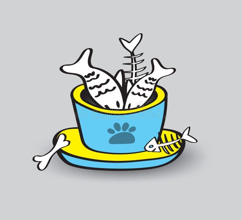Ciotole dell'animale domestico con l'illustrazione di vettore dei frutti di mare, icona di web, segno, pesce, pesce sparso illustrazione vettoriale