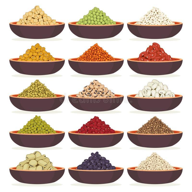 Ciotole di cereali e di legumi illustrazione di stock