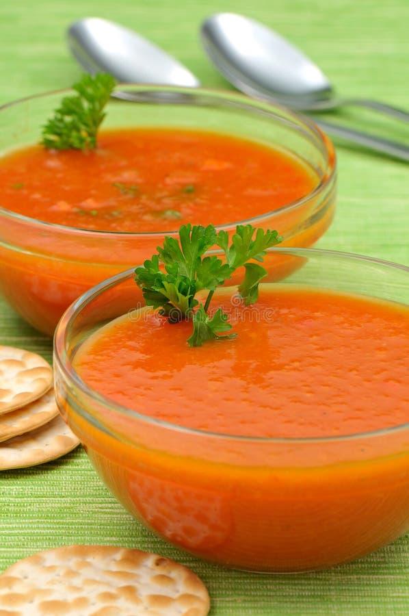 Ciotole di minestra del pomodoro fotografia stock libera da diritti