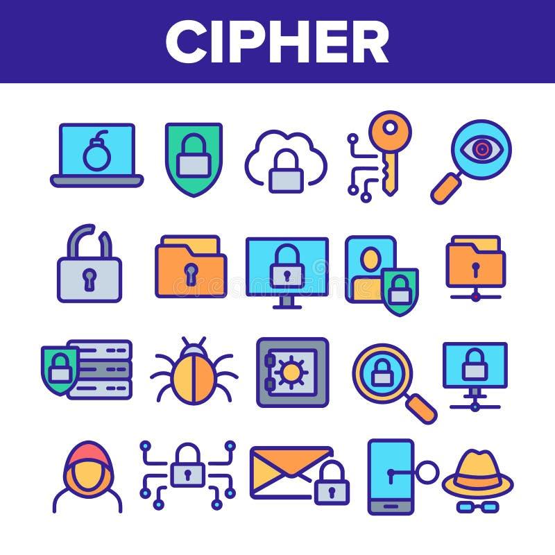 Cipher, ochrona danych Liniowe Wektorowe ikony Ustawia? ilustracja wektor