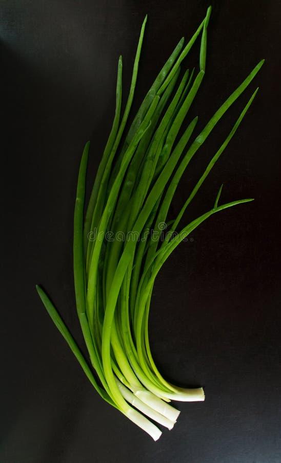 Cipolla verde sulla vista nera del fondo da sopra fotografia stock