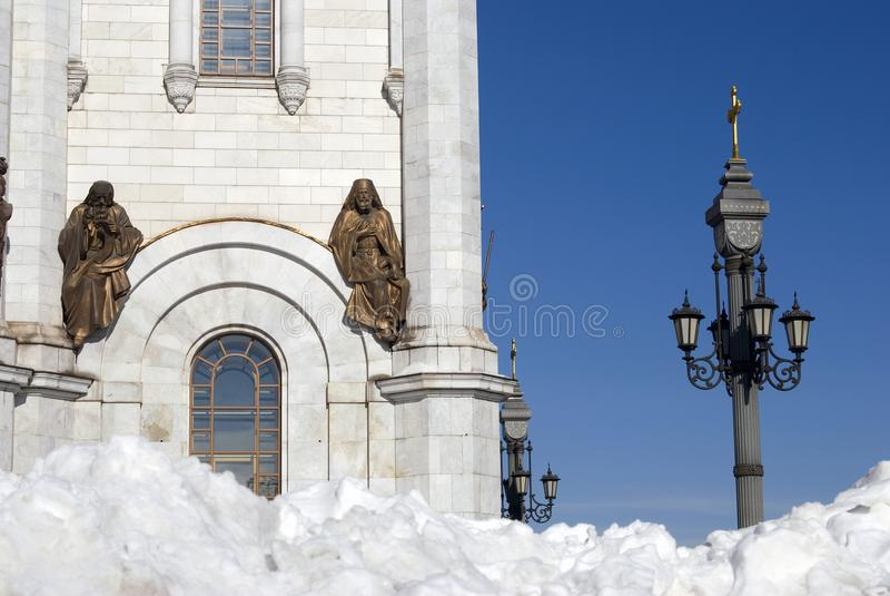 Cipolle dorate della cattedrale del redentore di Cristo a Mosca fotografia stock