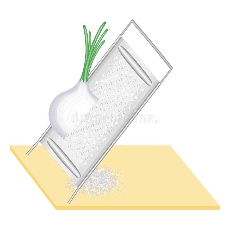 Cipolle fresche mature Pulisca le verdure su una grattugia del ferro Preparazione di alimento saporito e sano Illustrazione di ve royalty illustrazione gratis