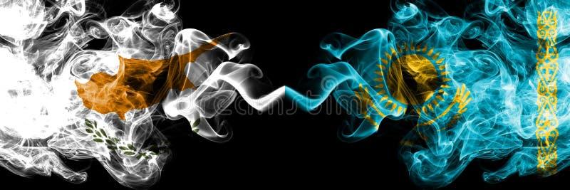 Cipriota del Cipro, il Kazakistan, Kazakhstani, bandiere fumose variopinte spesse della concorrenza di vibrazione Giochi europei  illustrazione vettoriale