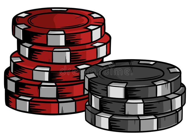 Cips tirés par la main de casino avec la conception de bande dessinée illustration stock