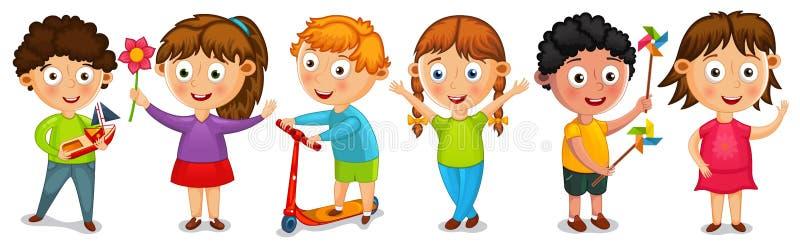 Cipy kreskówki dzieciaków odosobniony wektor ilustracji