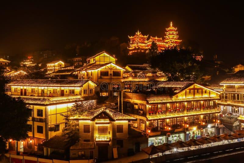 Ciqikou Oude die Stad - in Chongqing, China wordt gevestigd, stock foto