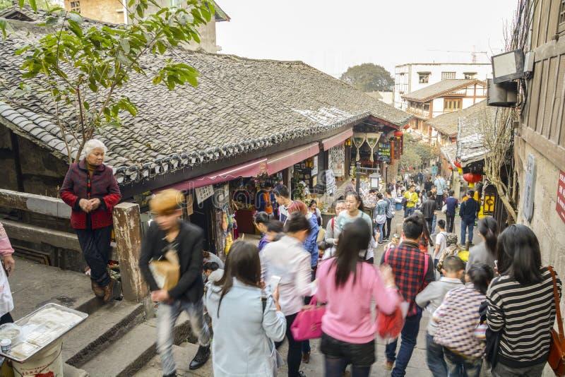 Ciqikou, vie antiche e turisti immagini stock