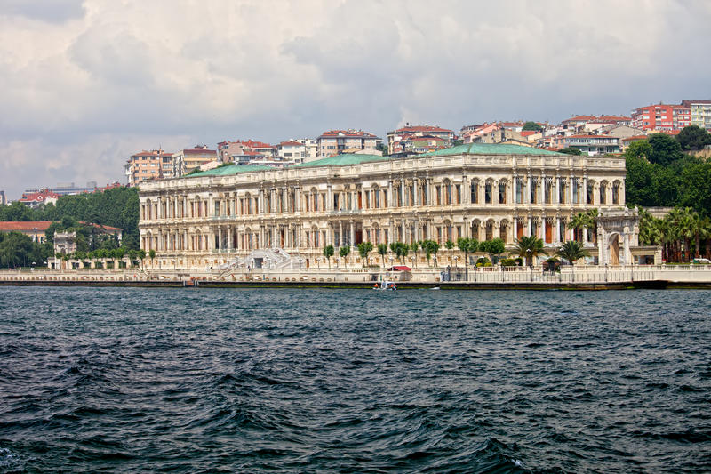 Ciragan Palace in Istanbul stock photography