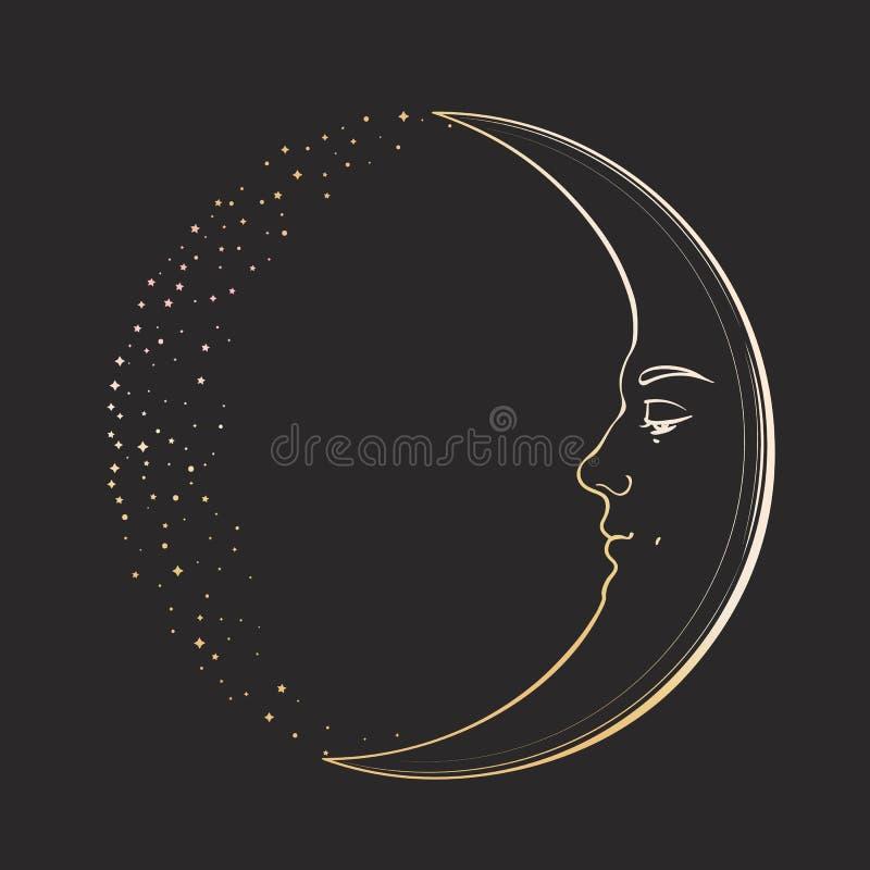 Cirage de Crescent Moon avec un visage de jeune homme beau Illustration tirée par la main de vecteur dans le style de vintage, d' illustration libre de droits