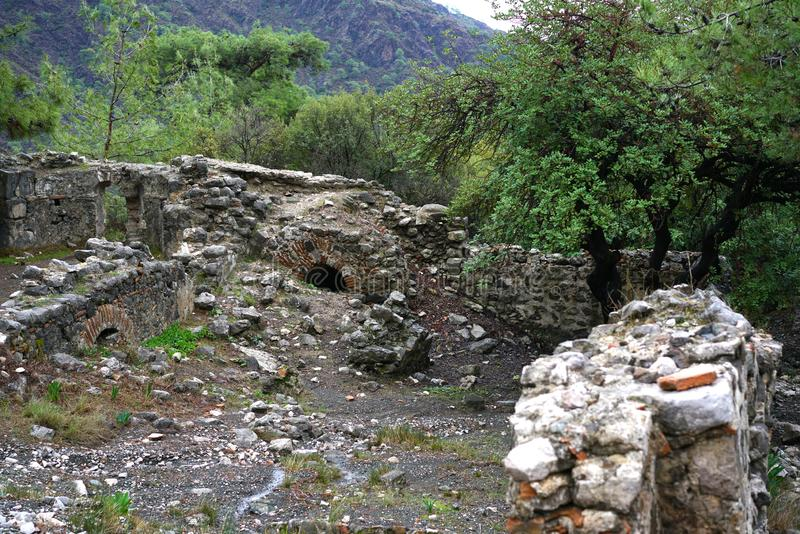 Chimera, burning rocks are remarkable spot ot the trail of Lycian way near Cirali, Antaly royalty free stock images