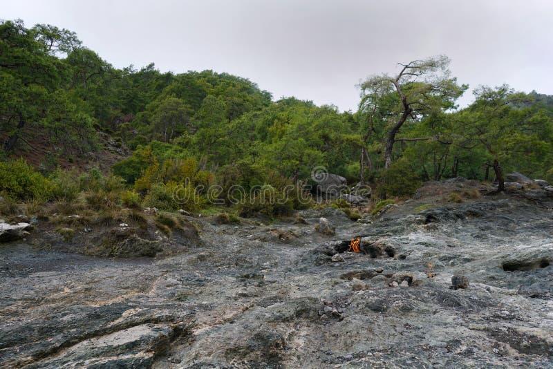 Chimera, burning rocks are remarkable spot ot the trail of Lycian way near Cirali, Antaly royalty free stock photos