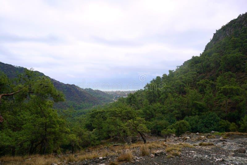 Chimera, burning rocks are remarkable spot ot the trail of Lycian way near Cirali, Antaly royalty free stock image