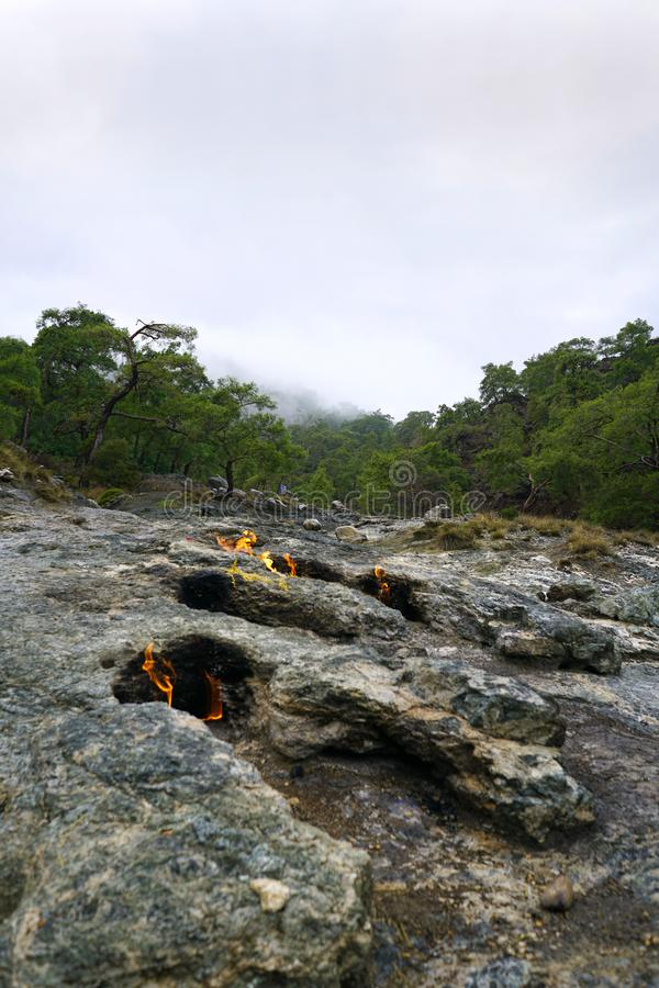 Chimera, burning rocks are remarkable spot ot the trail of Lycian way near Cirali, Antaly royalty free stock photography
