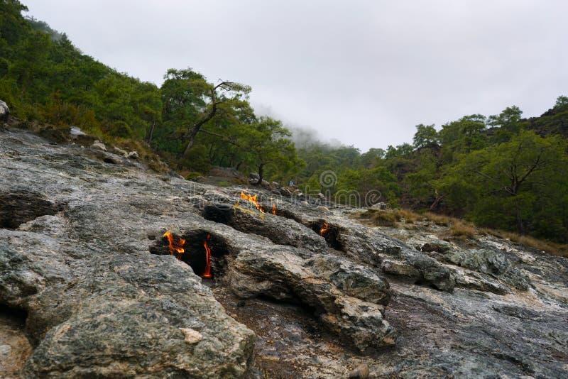 Chimera, burning rocks are remarkable spot ot the trail of Lycian way near Cirali, Antaly stock photo