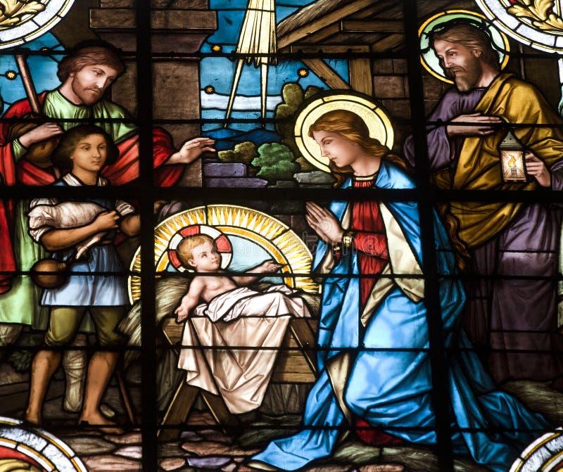 Cirb - Bethlehem auf der Fensterscheibe stockfoto