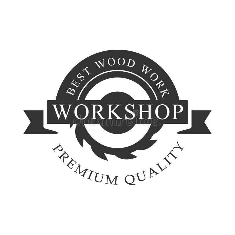 Circ Saw And Ribbon Premium-Malplaatje van het de Zegel Vectorontwerp van de Kwaliteits het Houten Workshop Zwart-wit Retro royalty-vrije illustratie