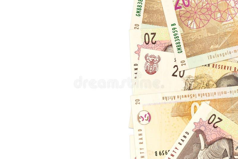 Circa banconote da 20 Rand sudafricani con copyspace fotografia stock