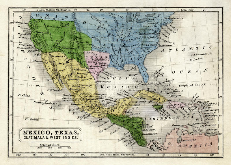 Circa el mapa 1845 de Boynton de la República de Tejas, de México, de Guatemala, de las Antillas, de California superior y de los imagen de archivo libre de regalías