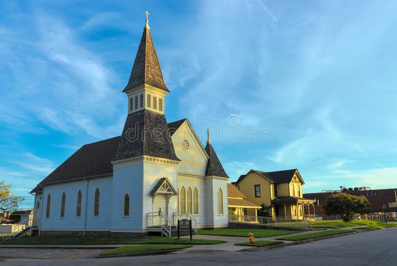 Darby Community Center in Fort Smith, Arkansas. Circa 1850, the former First Christian Church is located in the Belle Grove Historic District, the oldest stock images