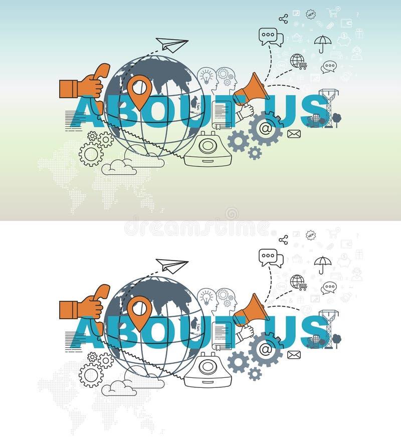 Circa noi concetto dell'insegna del sito Web con la linea sottile progettazione piana royalty illustrazione gratis