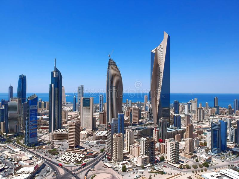 Circa Summer 2018 - Sunny Day Urban Panorama Of Wealthy Kuwait City Skys. Urban Panorama Of Kuwait City Skyscrapers royalty free stock image
