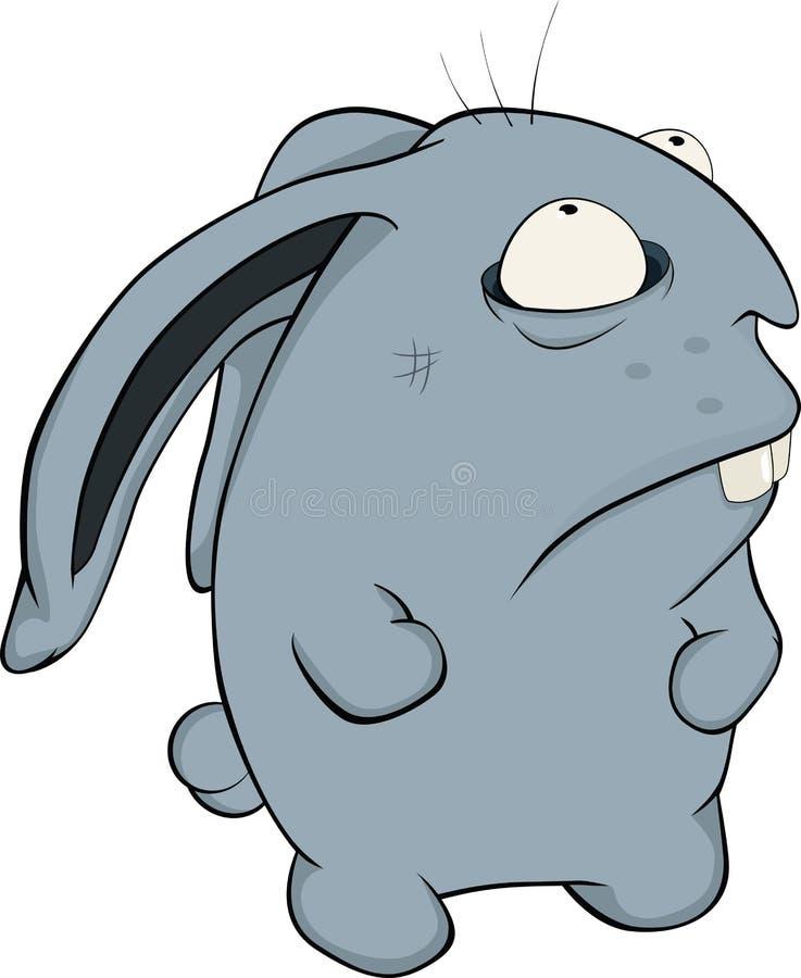 Circa un coniglio blu. Fumetto illustrazione vettoriale