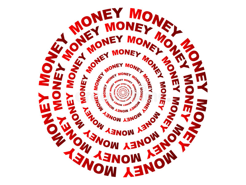 Circel abstracto hecho del texto del dinero ilustración del vector