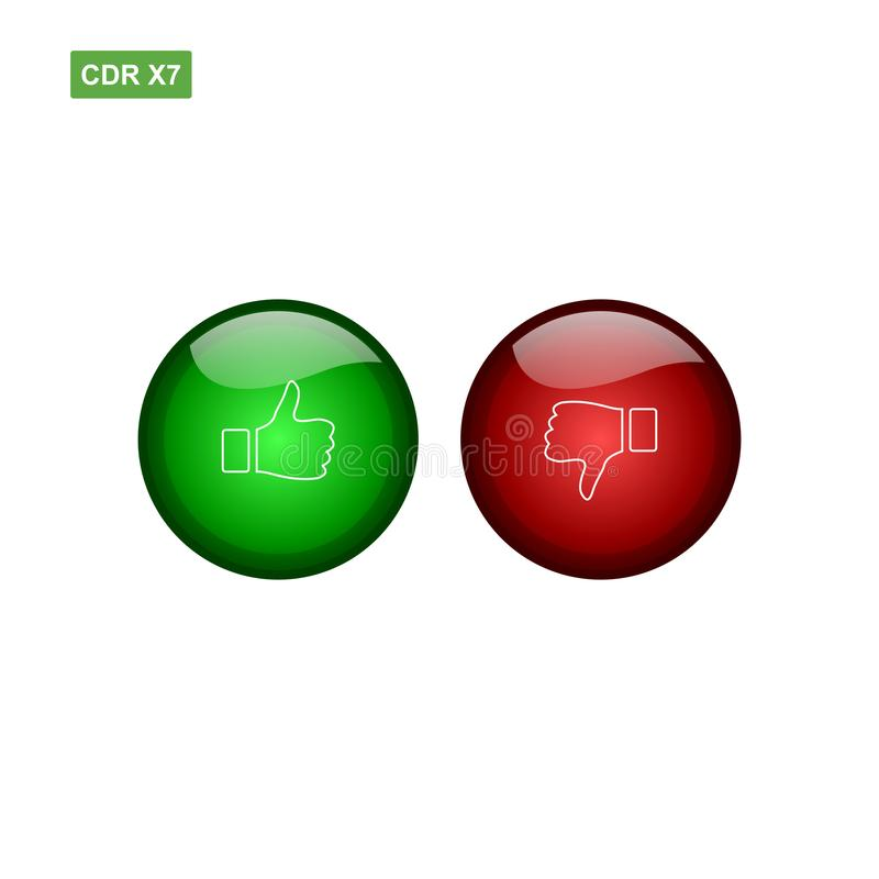 Circel button glossy thumbs up and thumbs down vector with gree vector illustration