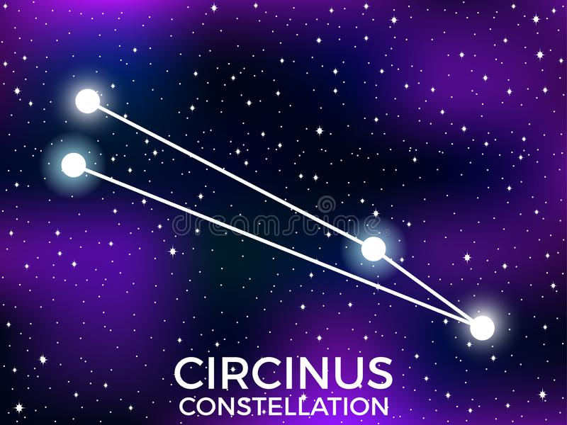 Circinus constellation. Starry night sky. Zodiac sign. Cluster of stars and galaxies. Deep space. Vector. Illustration stock illustration