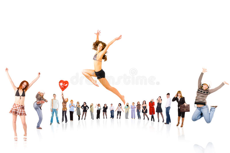 Circle of 17 people royalty free stock images