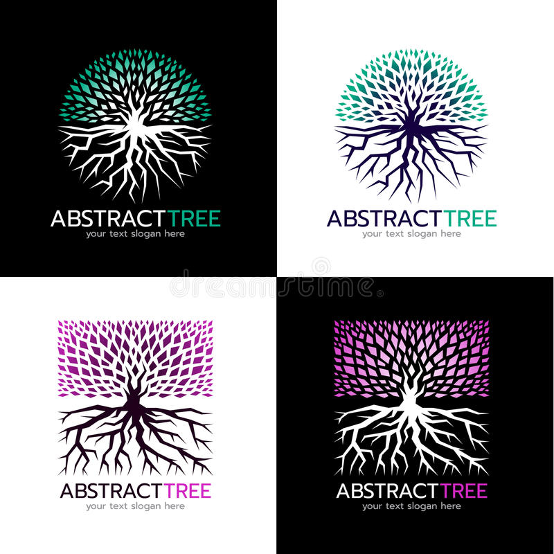 Circle abstract tree logo and Square abstract tree logo vector art design royalty free illustration