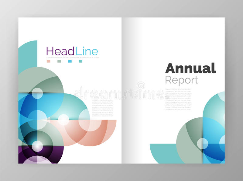 Circle annual report templates, business flyers. Vector abstract backgrounds royalty free illustration
