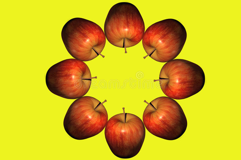 Circle of apples stock images