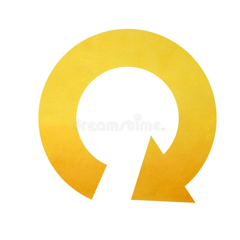 Circle arrow, arrows in a circle symbol. Symbol circle with arrow pointing down, circle arrow icon, yellow watercolor illustration royalty free stock images