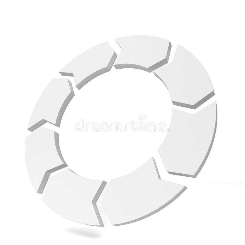 Circle arrow. 3d illustration on white background royalty free illustration