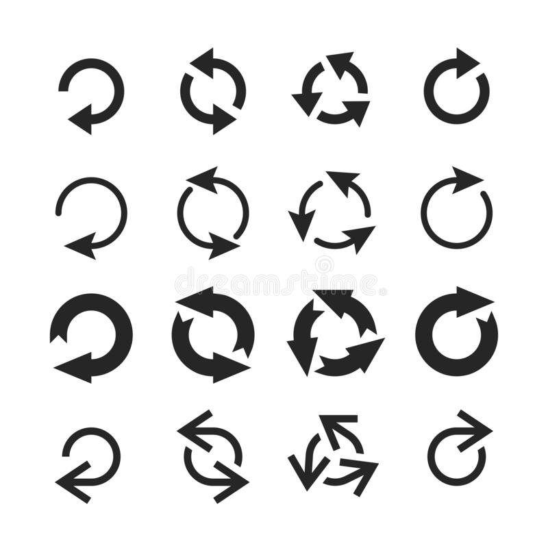 Circle arrow icon. Round arrows, circular pointing sign and circles button vector icons set royalty free illustration